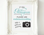 "Instagram Wedding Sign - Personalized PRINTABLE Digital file - Wedding Sign, Wedding Hashtag, Social Media, 8"" x 10"", Choose Your Color"