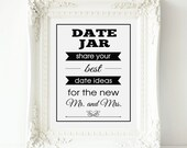 Date Jar Wedding Sign, Banner Date Jar - PRINTABLE Instant download, Best Date Ideas,Marriage Date Ideas, Share Your Best Date Idea, 3 Sizes