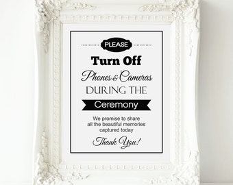 Unplugged Wedding Sign, No Cell Phones or Cameras Wedding - PRINTABLE Instant download, Unplugged Ceremony Poster, Turn Off Cell Phones Sign