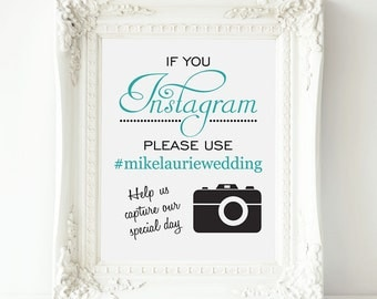 Instagram Wedding Sign, PRINTABLE Wedding Hashtag Sign, If You Instagram, Wedding Instagram Sign, Instagram Poster, Wedding Hashtag Photos