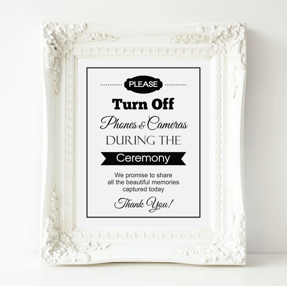 No Ceremony Just Reception: Unplugged Wedding Sign No Cell Phones Or Cameras Wedding