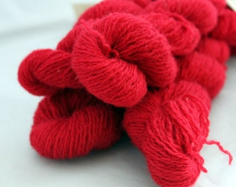 30% off STORE CLOSING SALE Recycled Red Wool Yarn, Fingering Yarn - 479 Yards