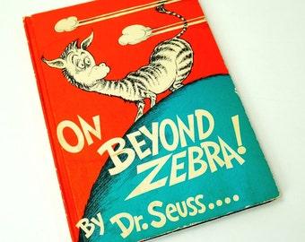 On Beyond Zebra! by Dr. Seuss 60s Oversized Hc / A Whole New Alphabet by Seuss / Vintage Childrens Book