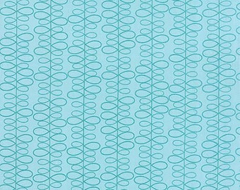 For You Fabric by Moda Teal Leaves in Stripes Striped on a Vine on Blue