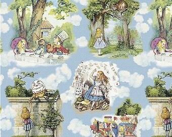 OOP HTF one yard Alice Fabric by Windham Fabrics Nursery Rhymes Scenes Adventures in Wonderland in the Sky with Clouds