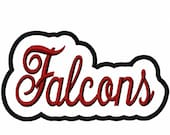 Falcons Script with a Shadow Embroidery Machine Applique Design 4394