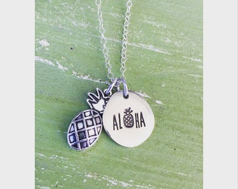 Pineapple, aloha, handstamped, necklace