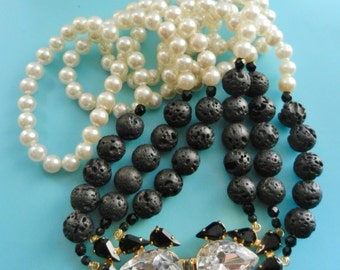 Amazing three-strand necklace simulated pearls and black lava stones beads -Fabulous large crystal clasp - 1970s italian couture- art.952/3-