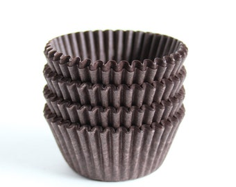 MINI Brown Cupcake Liners, Chocolate Brown Mini Baking Cups, Candy Cups (60)