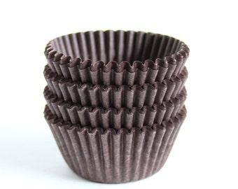 MINI Brown Cupcake Liners, Chocolate Brown Mini Baking Cups, Candy Cups (60)