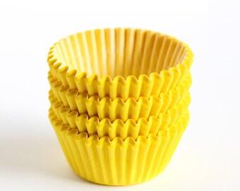 60 Mini Yellow Cupcake Liners, Mini Baking Cups