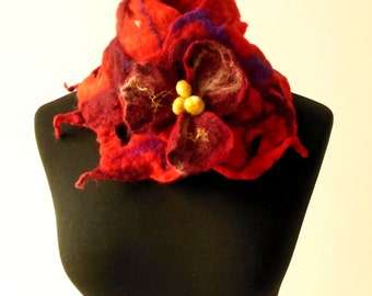 felted artistic red eco friendly collar scarf
