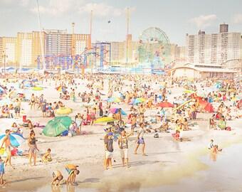 Colorful Beach Photography // Modern Home Fine Art Print // Coney Island Beach Print // Beach People Print  - Peeps Dips 3