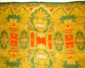 Vintage Long Decorative Earthy Green Chiffon Scarf • 56 X 16 1/2 inches