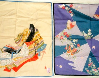2 new Vintage Asian theme Handkerchiefs • Hanae Mori & C K T 6507 • new with label