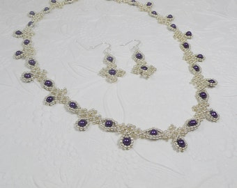 Woven Necklace and Earrings Silver and Purple