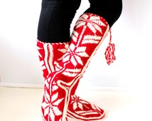 Christmas Gift, Winter Booties, Long Slippers, Cozy, Wool Socks, Mukluk, Slippers