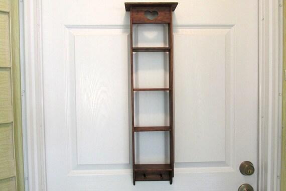 Wood Ladder Shelf Distressed Finish Ladder Shelf With Heart