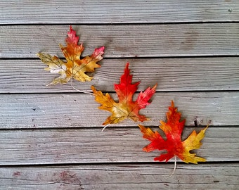 Fall Leaves Decor with Storage Gift Box - Autumn Decor - Realistic Fall Leaves - Fall Leaf Bookmark - Maple Leaf Decor - Set of Three