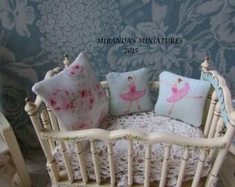 Dollhouse Miniature Ballerina Toss THROW pillows Ballet