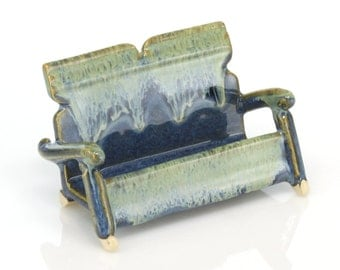 Ceramic business card holder with blue and green glazes, handmade by Jason Hooper Pottery