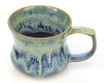 8oz Ceramic mug with blue and green glazes, handmade by Jason Hooper Pottery