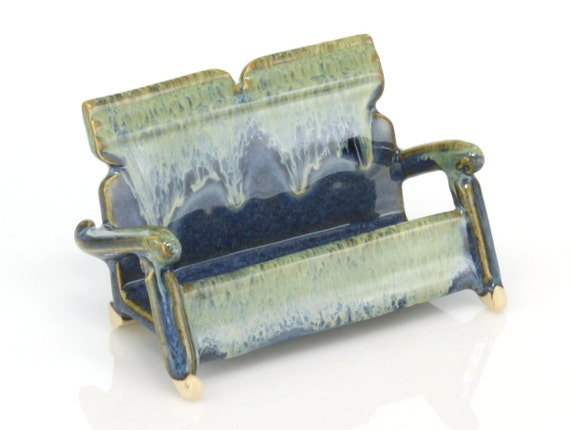 Ceramic business card holder with blue and green glazes for Ceramic business card holder