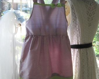 Girl's Silk Gingham Sun Dress  Vintage Embroidered Hem Trim