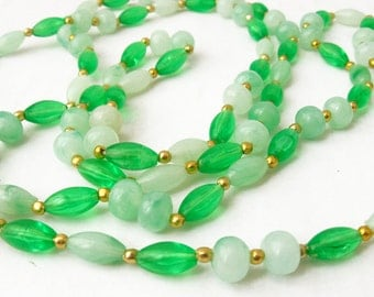 Mint Green Necklace, Beaded Necklace Long, Green and Gold Convertible Necklace, Green Beaded Long Necklace Boho, Gold and Green Necklace