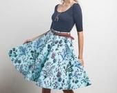 Thistle Swing Pocket Skirt in Royal Blue, Magenta and Black on Mint