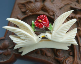 Carved Ivory Celluloid Love Bird Dove Pin