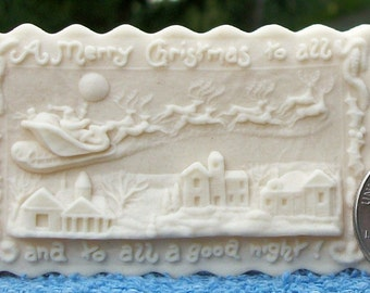 """Small """"A Good Night To All"""" Santa Springerle Cookie Mold"""