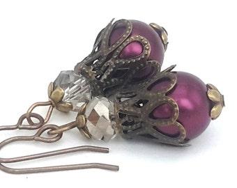 Aubergine Pearl and Crystal Dangle Earrings