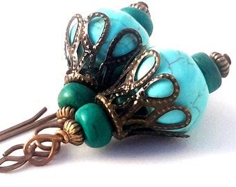 Turquoise & Teal Boho Dangles