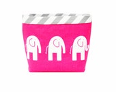 Headrest CAR CADDY ELEPHANTS Candy Pink, Car Litter Bag, Car Accessories, Toy Bag for Car