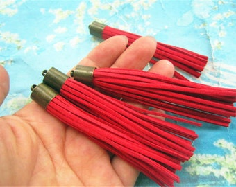 10pcs 80mm Antiqued bronze Metal Cap--Red Suede Leather Ear Tassel charms