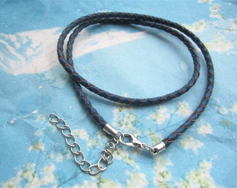 5pcs 12-24 inch for your choose 3mm Navy Blue braided GENUINE(REAL) leather choker necklace cords with silver lobster clasps and extender
