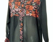 Crazy 90's FLY GIRL BLOUSE, Sheer Sleeve and Midriff with Roses Floral Print, size m