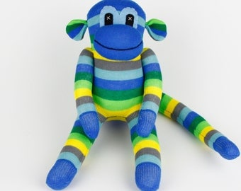 Christmas Gift Handmade Sock Monkey Stuffed Animal Doll Baby Boys Toys Birthday gift New year Gift