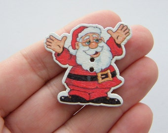50 Santa buttons 2 holes 36 x 35mm wood SALE 75% OFF