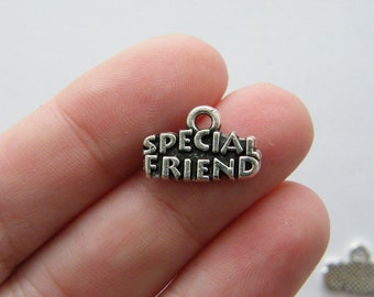 10 special friend charms antique silver tone M187