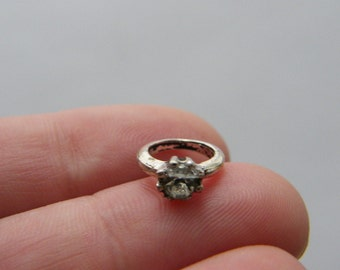 8 Engagement ring charms antique silver tone M237