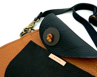 TRAPEZOID Collection Waist Bag in Caramel and Black