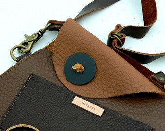 TRAPEZOID Collection Waist Bag in Chocolate and Caramel