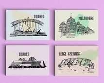 Australia Postcard - Travel Postcard - Small Art Print - Melbourne - Sydney - Hobart - Alice Springs - Uluru