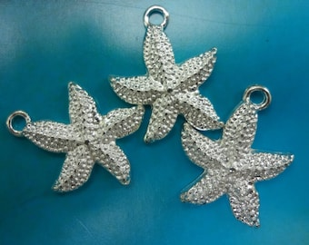 10pcs - Sterling silver plated - starfish - medium size - pendants - textured surface - sea - beach - nautical - Marine - ocean - nature