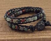 Leather Wrap Bracelet, Black with African Bloodstone, Double Wrap