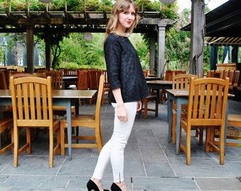 SALE Julia blouse- Polka dot Italian cotton jacquard-Black/ Custom made designer clothing/Bow tie back/ Made in USA/marinaasta