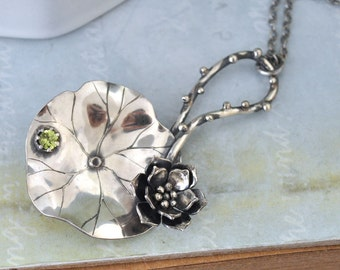 water lily necklace, sterling silver lotus, statement piece, TRUE ZEN, peridot gemstone and lotus leaf
