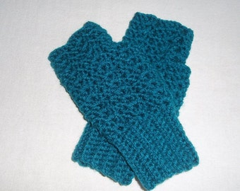 Ladies Lacy Fingerless Gloves - TEAL - Made in Your Size